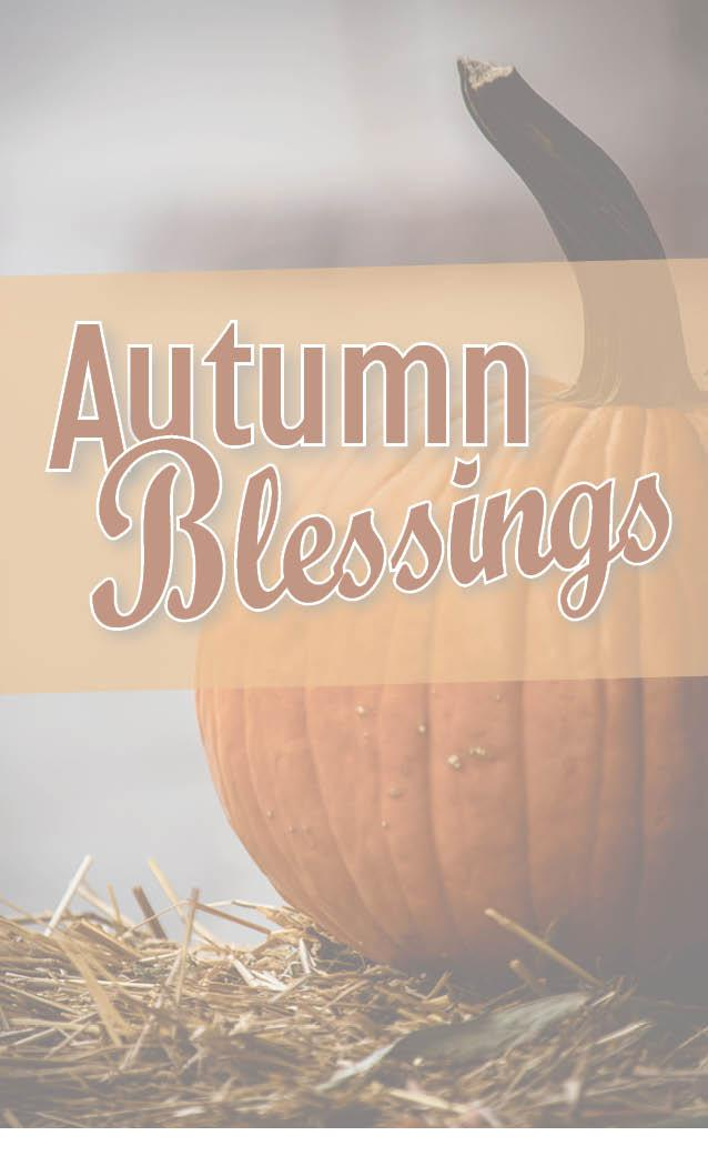 Autumn Blessings banner with fall leaves